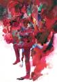 Der rote Schlag, 2012, Gouache über Lichtdruck, 30 x 20 cm