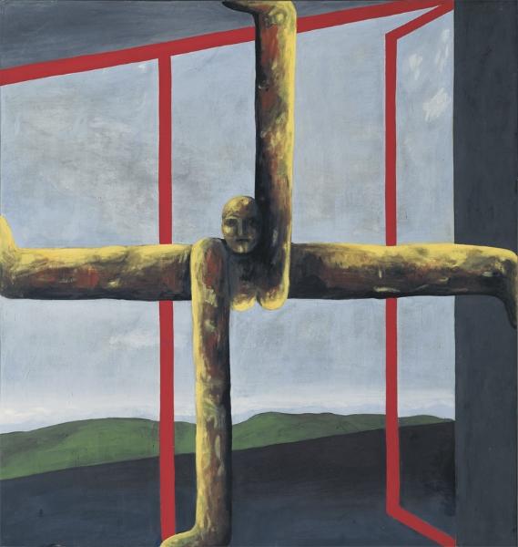 NRAIK vor offenen Türen, 1991, Eitempera auf Leinwand, 190 x 180 cm