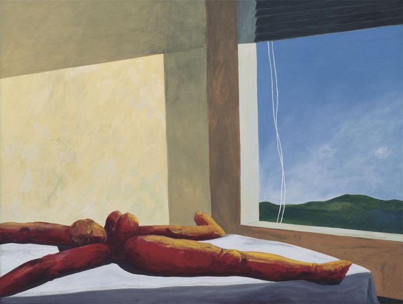 Warten auf Apoll, 1992, Eitempera auf Leinwand, 144 x 175 cm