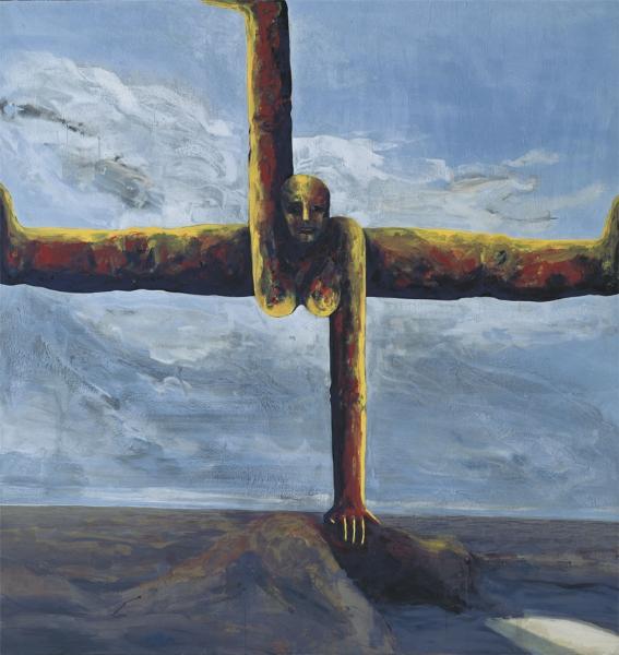 Große Kreuzfigur, 1993/95, Eitempera auf Leinwand, 190 x 180 cm
