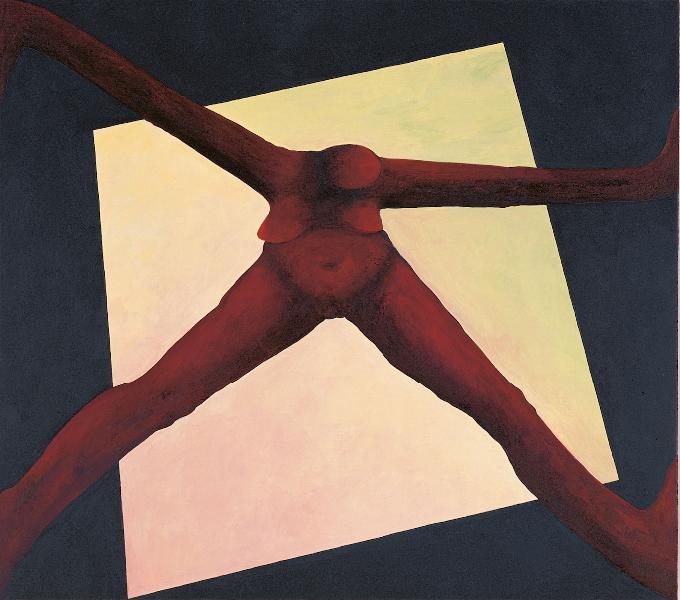 Figur im Licht, 1994, Acryl auf Holz, 40 x 45 cm, Privatbesitz