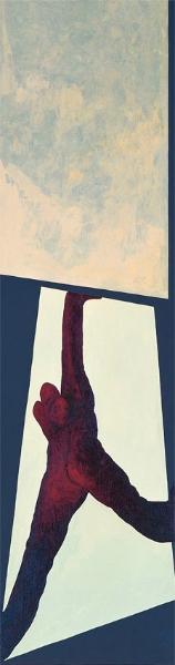 Gestreckt nach oben, 1995  Acryl auf Holz, 77 x 22,5 cm, Privatbesitz