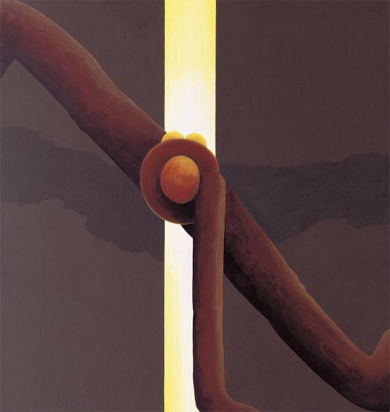Schattenfigur vor Lichtspalt, 1996, Acryl auf Holz, 90 x 85 cm, Sammlung TTR