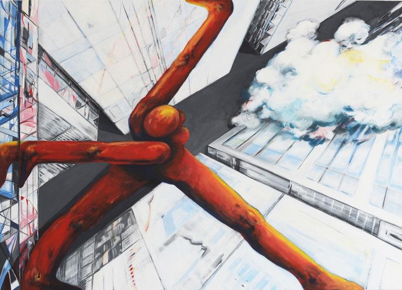 unterwegs, 2015, Eitempera auf Leinwand, 100 x 140 cm, Privatsammlung