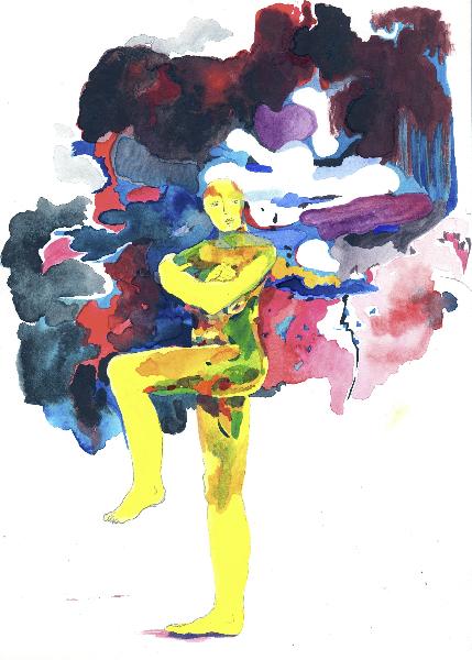 Figur mit Farbwolke, 2011, Gouache über Lichtdruck, 30 x 20 cm